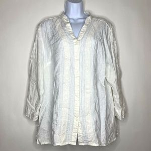 JM Collection Womens Sz 18 Linen Button Down Shirt